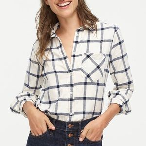 NWT J.Crew Classic Fit Boy Shirt Block Plaid Ivory